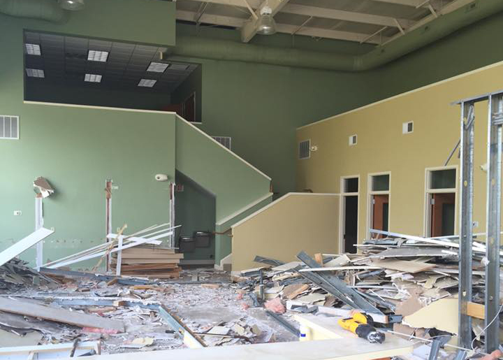 interior of building that has been demoed to prep for renovations for the new assertive athletics and fitness gym location